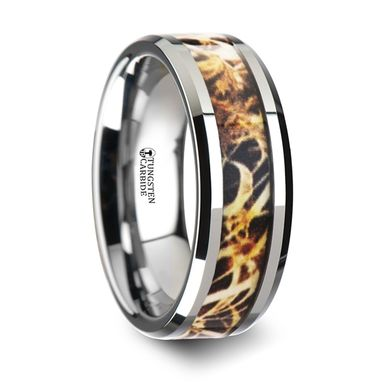 Custom Made Terra Tungsten Carbide Wedding Band With Leaves Grassland Camo Inlay Ring - 8mm