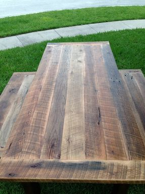 Custom Made Reclaimed Oak Dining Table With Matching Benches