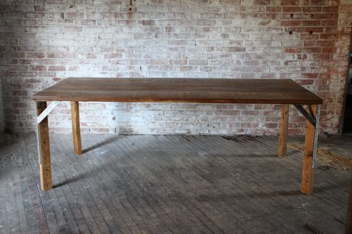 Custom Made Chestnut And Steel Dining Table