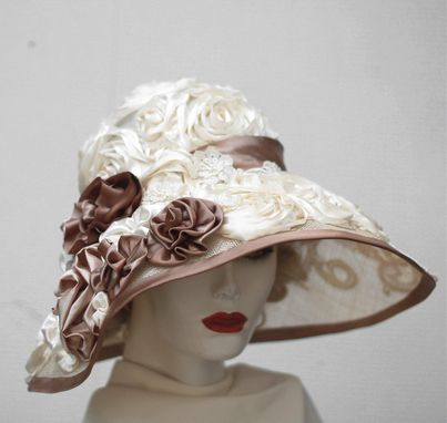 Custom Made Fancy Formal Kentucky Derby Hat  Wide Brim Summer Sun Flowers