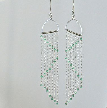 Custom Made Extra Long Earrings - Sterling Silver Earrings W/ Emerald