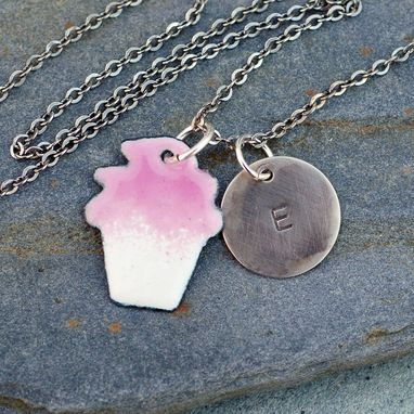 Custom Made Enamel Cupcake Necklace Pendant Custom Handstamped Initial Enameled Jewelry Pink