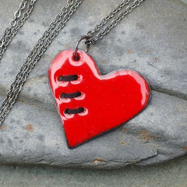Custom Made Valentine Jewelry Mended Broken Enamel Heart Pendant Necklace Copper Enameled Sewn Red Black