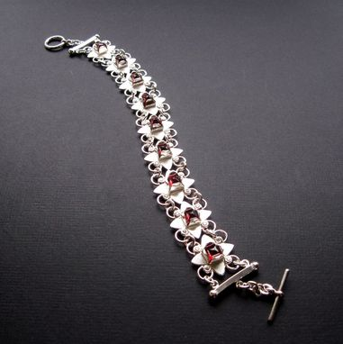 Custom Made Chj Clover Bracelet With Garnet And Cz