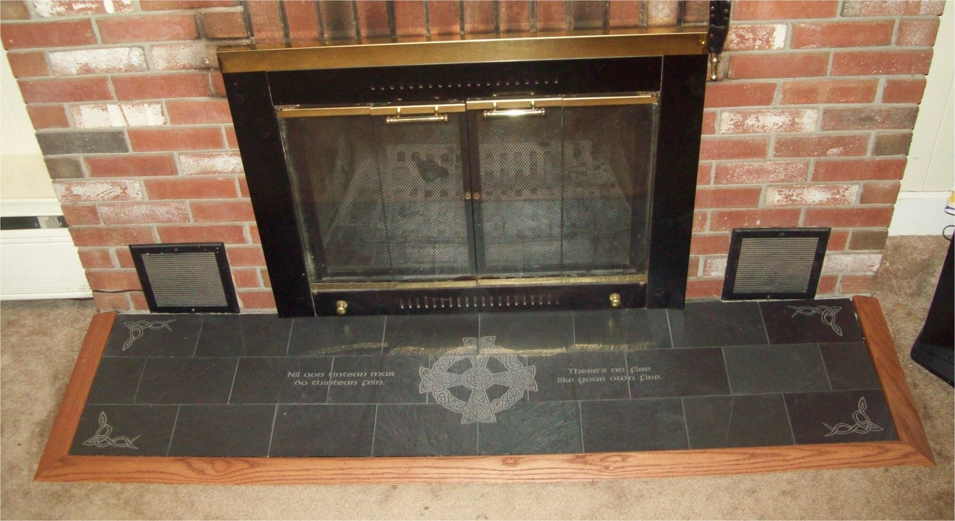 Handmade engraved slate fireplace hearth with celtic and Decorative hearth