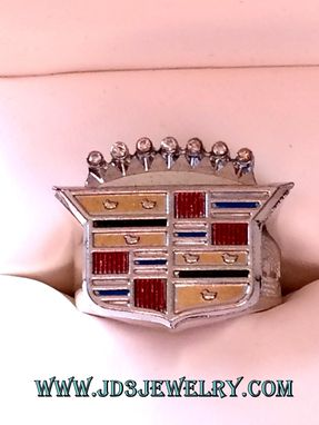 Custom Made Cadillac Emblem Ring With Diamond Accents