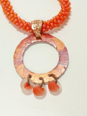 Custom Made Matte Hyacinth Kumihimo Necklace W/Copper Ring And Unicorne Teardrops