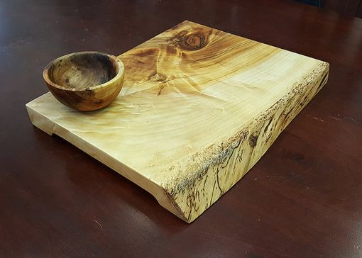Custom Made Live Edge Cutting Board Reclaimed Black Willow Board Reclaimed Elm Bowl