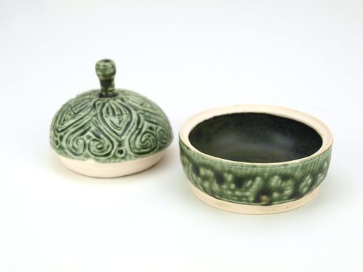 Custom Made Green Ash Hand Carved Lidded Jar Heart Leaf Drip Black Interior Wheel Ceramic Stoneware Pottery