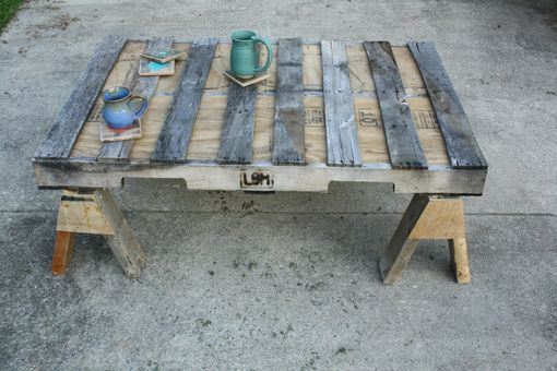 Custom Repurposed Wood Coffee Table Saw Horses By Little