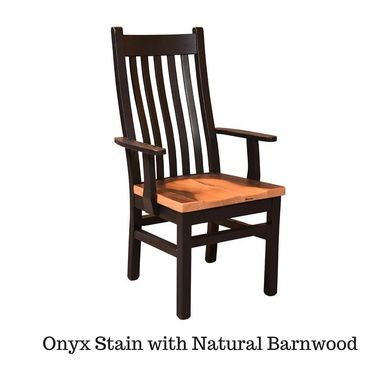 Custom Made Reclaimed Wood Mission Chair (Onyx Stain And Natural Barnwood Seat)