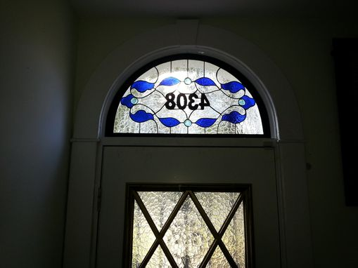 Custom Made Stained Glass Address Marker- Traditional Design -Clear & Blue- (Am-172)