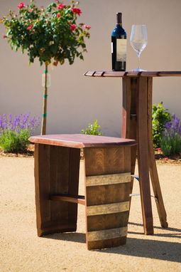Custom Made Wine Barrel End Table, Stool, Bench