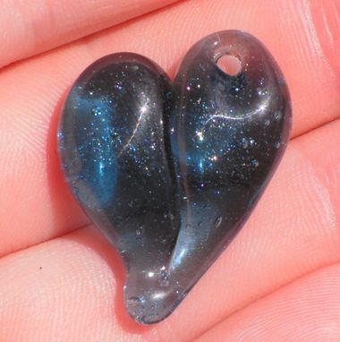 Custom Made Sparkling Blue Hand-Blown Glass Heart Pendant