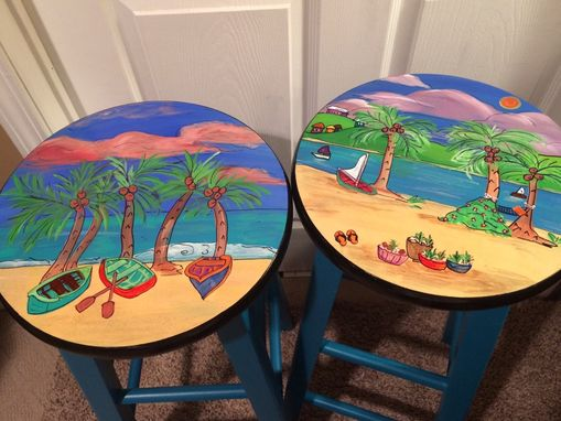 Custom Made Custom Painted Miami Style Beach Scenes Turquoise Rowboats Palm Trees