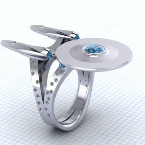 boldly going somewhere stock and custom - R2d2 Wedding Ring
