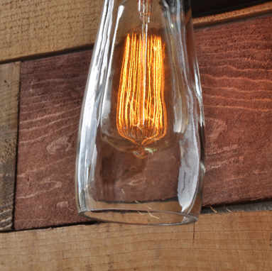 Custom Made Torchier Wall Sconce - Recycled Glass Bottle Light