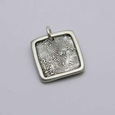 Custom Made Sterling Silver Square Fingerprint Charm/Pendant