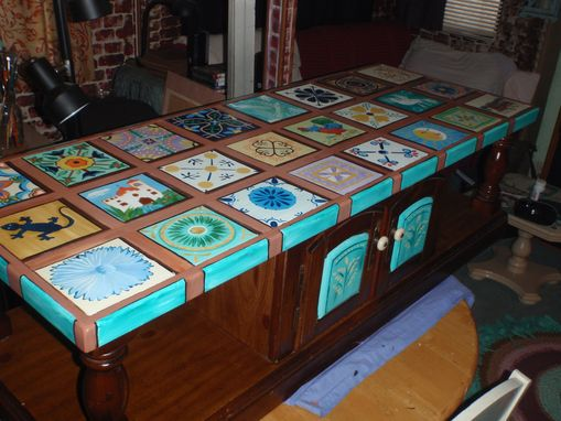 Custom Made Hand Painted Mexican Tile Table Top