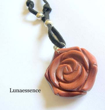 Custom Made Gold Stone Blooming Rose Pendant