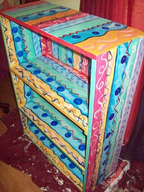 Hand Made Bookcase Handpainted Multicolored 4 Shelves By I