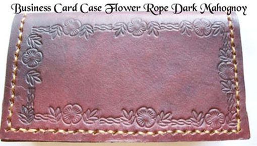 Custom Made Custom Leather Business Card Case With Flower Rope Design And In Dark Mahogany Color