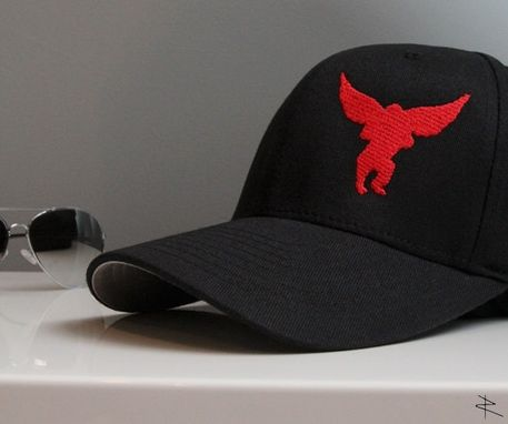 Custom Made Flying Monkey Flexfit Aviator Hat In Black And Red
