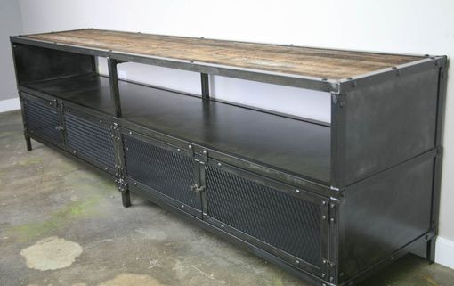 Custom Made Industrial Media Console/Credenza - Urban Modern, Vintage Credenza. Reclaimed Wood Top & Steel