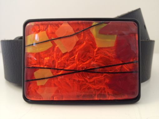 Custom Made Orange And Confetti Fused Glass Belt Buckle
