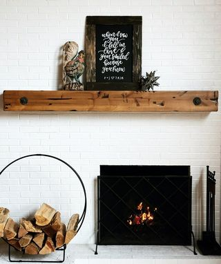 Custom Made Fireplace Mantel Rustic Beam Design With Antique Washers And Bolts
