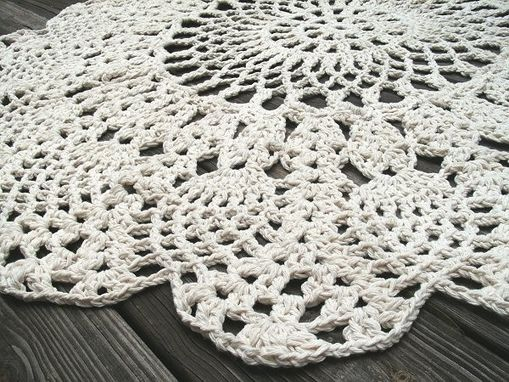 Hand Made Cotton Crochet Rug In Large 42 Quot Circle Pineapple