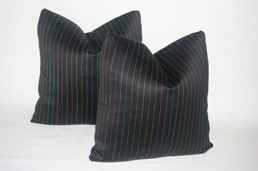 Custom Made 16 X 16 Black Menswear Pinstripe Pillow Cover