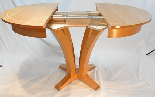 Custom Made Round Cherry Extension Pedestal Table W/ Maple Inlay