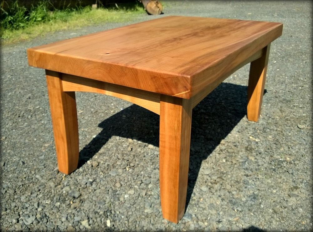 Hand Made Wood Coffee Table Natural Wood Slab Sustainably Harvested Maple Or Black Walnut By