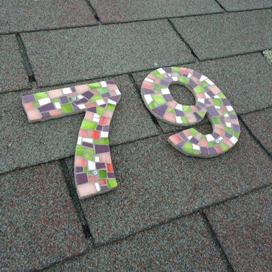 Custom Made Mosaic House Numbers In Purple, Pink And Green Stained Glass Tiles