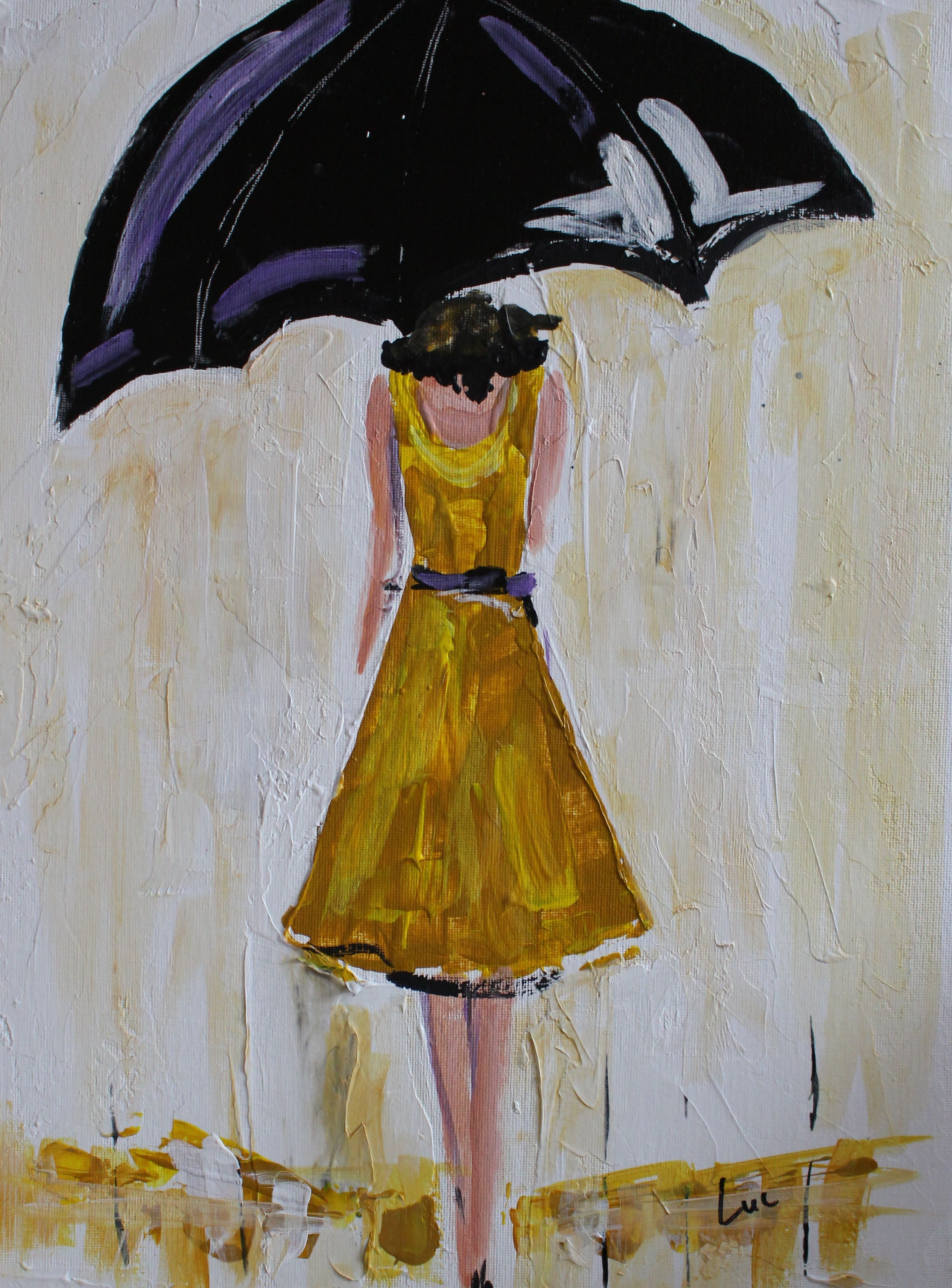 Buy A Hand Made Umbrella Girl In Yellow Acrylic Painting