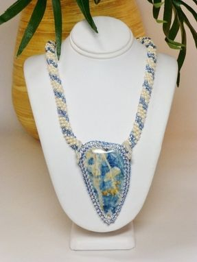 Custom Made Silver-Lined Blue And Cream Pearl Kumihimo Necklace W/ Wedgewood Agate Heart Pendant