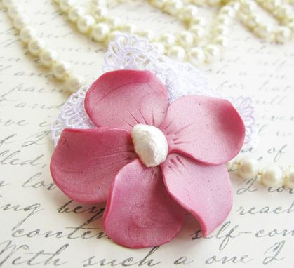 Custom Made Pink Polymer Clay Flower And Freshwater Pearl Lace Brooch - Accessorize Anything