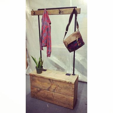 Custom Made Industrial Hall Tree - Storage Bench And Coat Rack