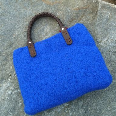 "Custom Made Sweet Little Blue Felted ""Newport"" Tote Bag With Braided Leather Handles"