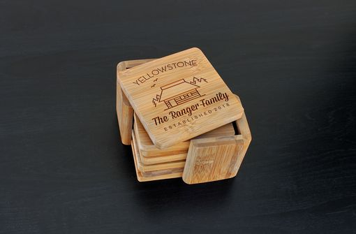 Custom Made Custom Bamboo Coasters, Custom Engraved Coasters --Cst-Bam-Ranger Family