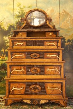 Custom Made Adirondack Rustic Dresser With Original Oil Painting