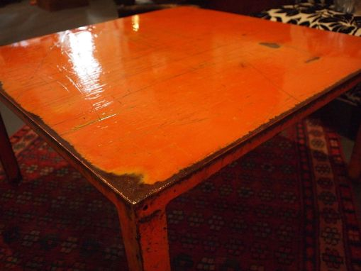 "Custom Made 36"" Square Deep Orange Steel Coffee Table"