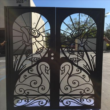 Custom Made Metal Art Duel Entry Gate Custom Rose Swan Steel Fabricated In Usa