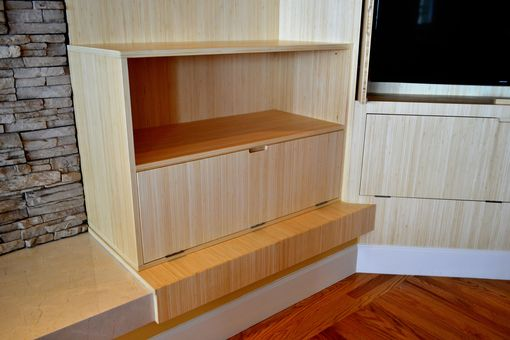Custom Made Bamboo Tv Cabinet And Storage And Floating Shelves