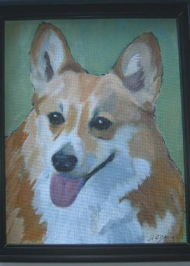 Custom Made Custom Dog Pet Portrait Of Precious, A Pembroke Welsh Corgi