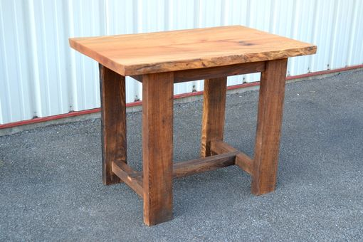 Custom Made Live Edge Sycamore Pub Table With Reclaimed Chestnut Legs