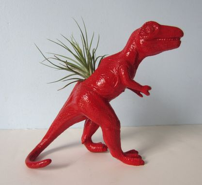 Custom Made Upcycled Dinosaur Planter - Extra Large Red T Rex With Air Plant