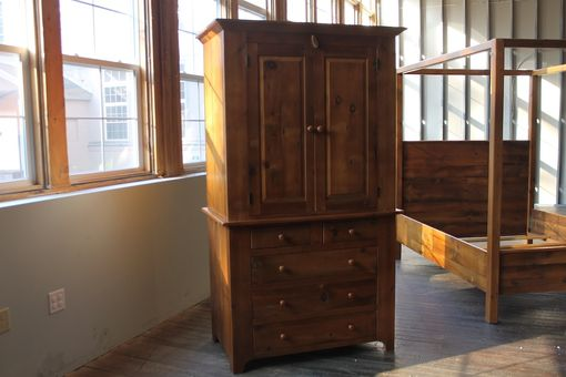 Custom Armoire From Reclaimed Wood With Recessed Panels - Hand Crafted Custom Armoire From Reclaimed Wood With Recessed