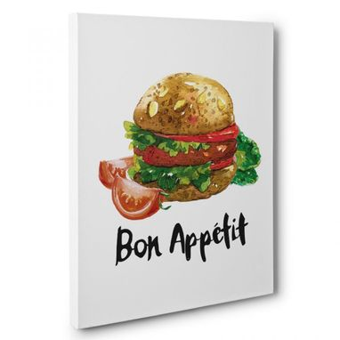 Custom Made Bon Appetit Burger Kitchen Canvas Wall Art